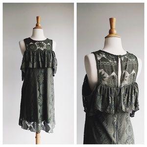 MIAMI   Olive Crochet Cold Shoulder Dress   M